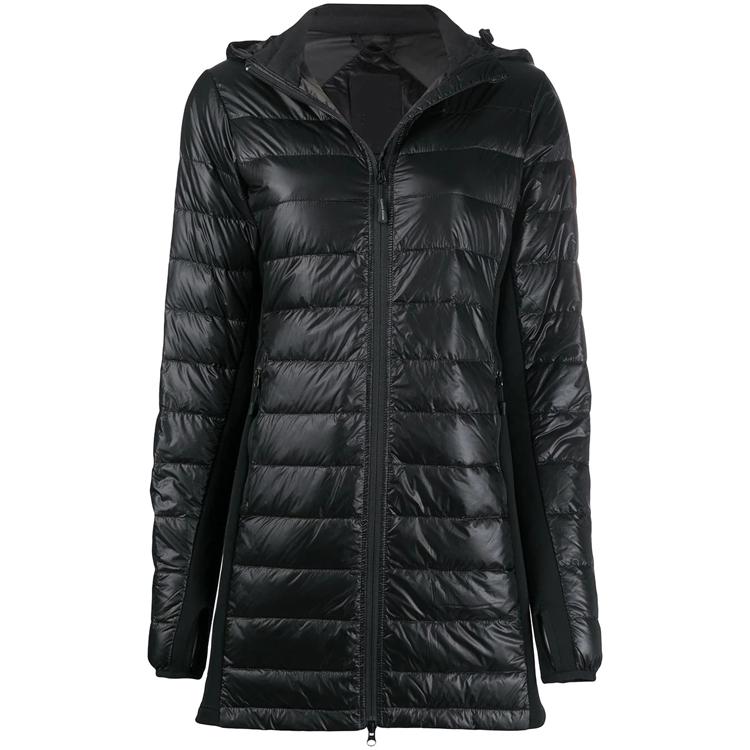 Winter Vrouwen Zwarte Rits Up Manchet Met Duim Gat Slim Fit Hood Puffer Jas