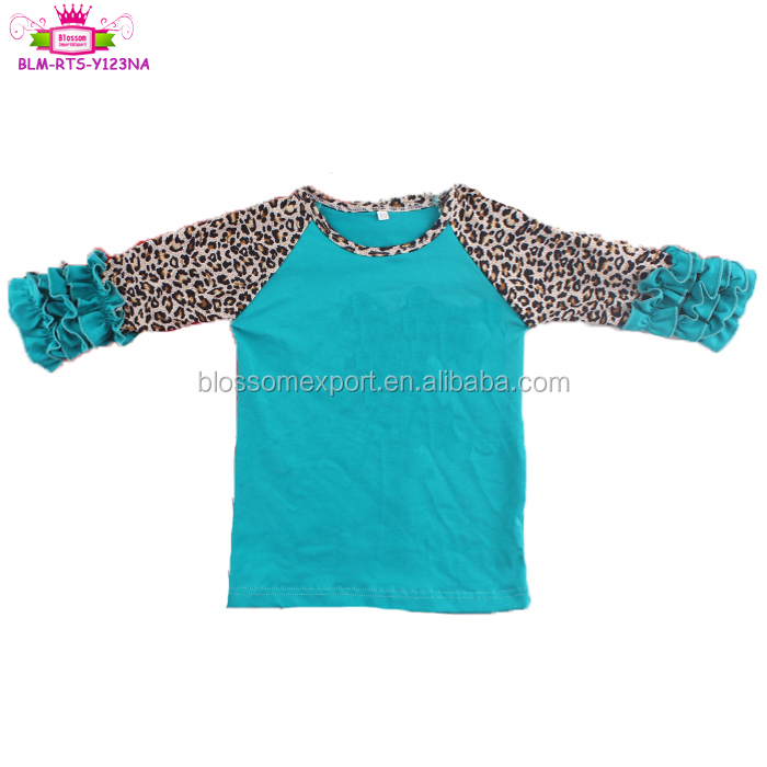 2019 Baby Kids Clothes Children three quarter Sleeve T Shirt Leopard pattern ruffle Girl raglan baseball baby shirts
