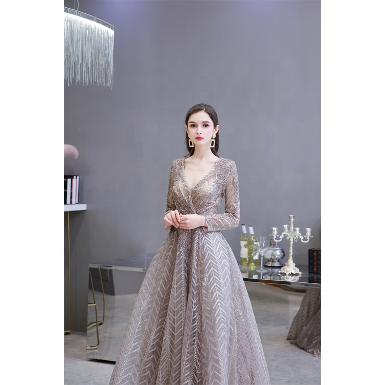 Formal A-Line long sleeves V-Neck Women Party Evening Gown Dresses