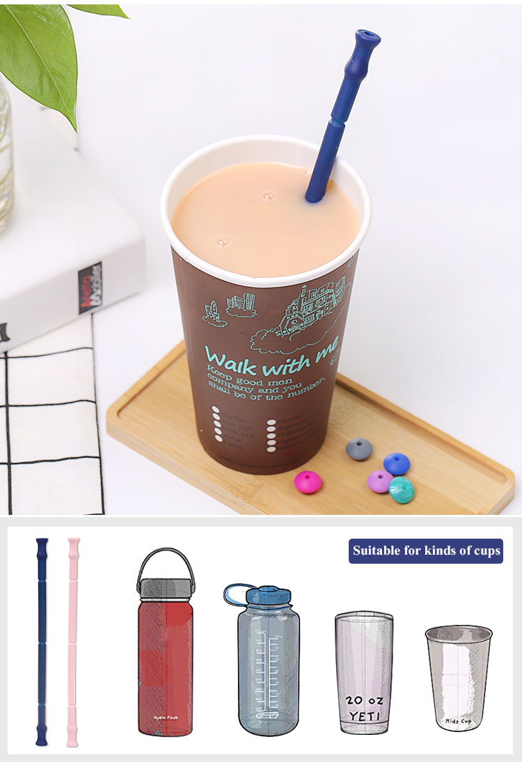 Wholesale BPA-Free Drinking Reusable Collapsible Silicone Straws