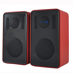 Multifunction 50W Wooden PU Leather Bluetooth USB TF Bookshelf Speaker Pair For TV