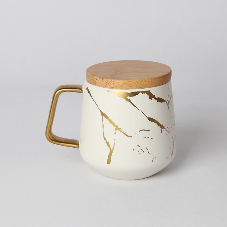 OEM / ODM welcome fancy gold rim matte black marbling porcelain coffee mug with bamboo lid