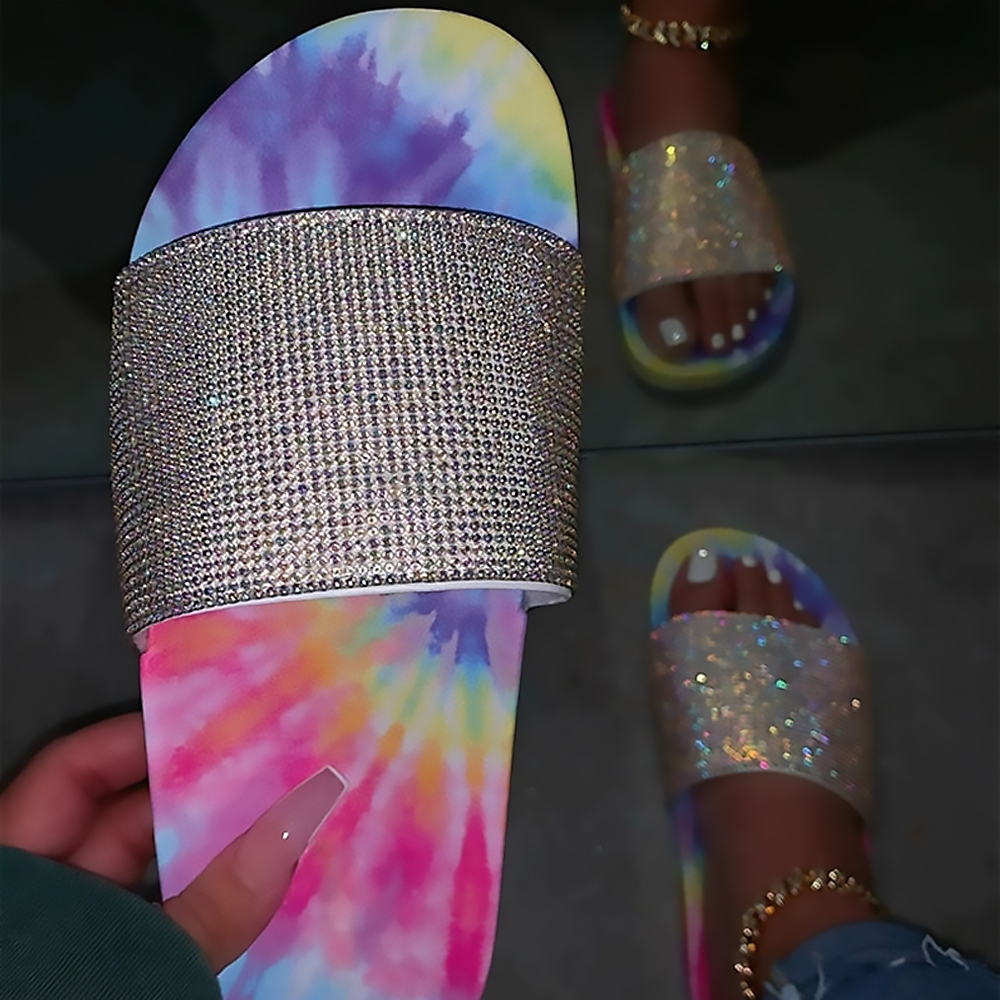 Summer Wholesale Cheap Tie Dye Fashion DIAMOND Cheap Factory flat base slipper <strong>sandals</strong>