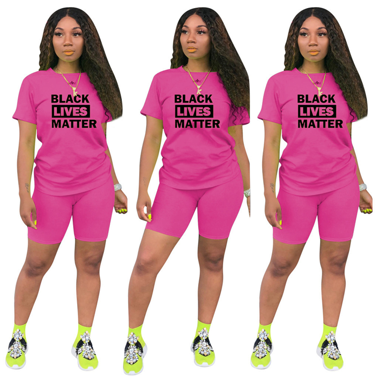 0070115 Best seller fashion casual sports suit letter print Sexy 2 Pcs Track Suit Outfits Two Piece Shorts Set Women Clothing