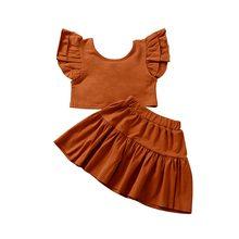 Комплект летней одежды для детей 2020, комплект с юбкой для девочек ясельного возраста, жилет на бретельках + юбка трапециевидной формы с цвет...(Китай)
