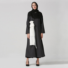 Unique Design Islamic Clothing Abaya White Lace Bow Black Muslim Gown Dress Plus Size For Women