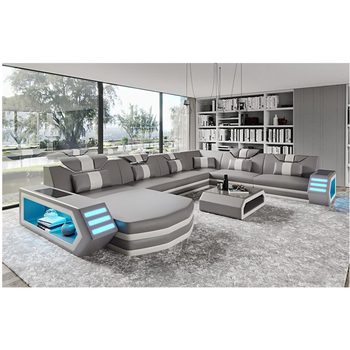 Luxury Italy Design Sectional Sofa Bed Modern LED Living Room Furniture Genuine Leather Sofas Sets