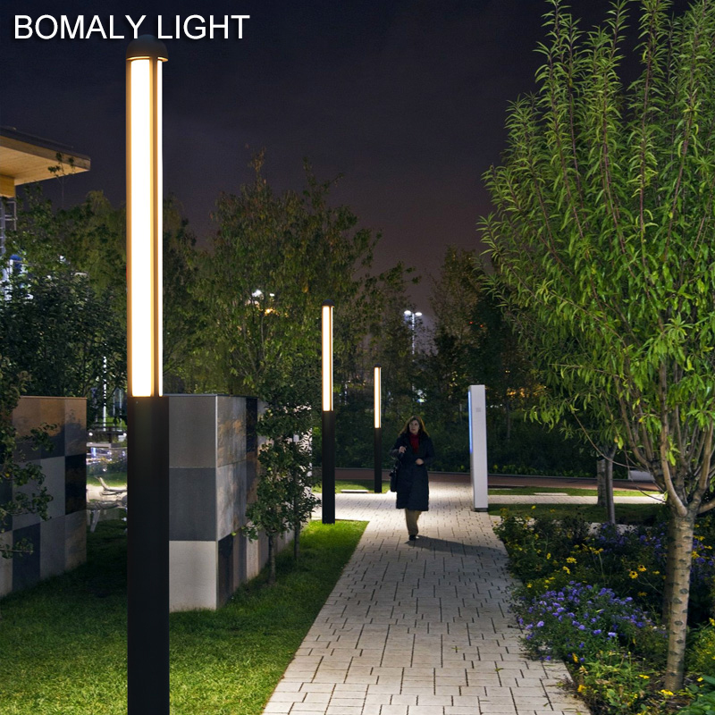 Waterproof Ground Outside Street Lighting Modern Led Tall Pillar Lawn Lamps