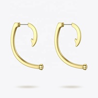 High Quality 18K Gold Plated Environmental Brass Fish Hook Earrings With Diamonds EC191036