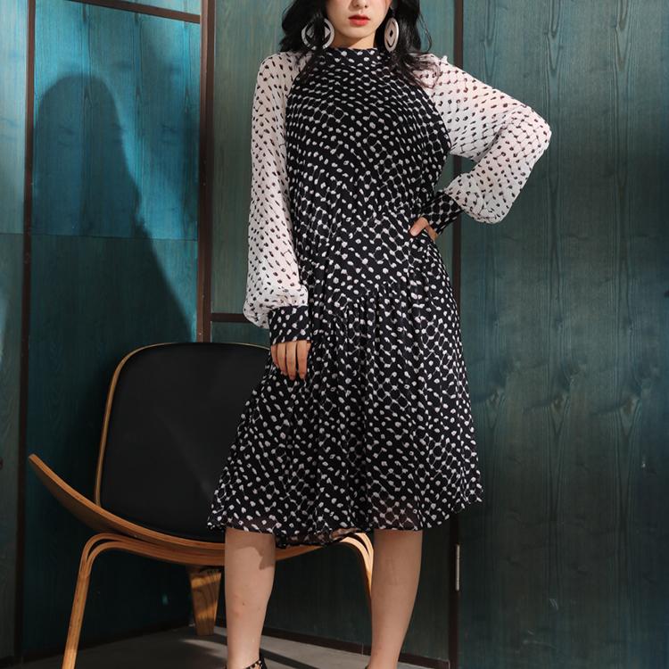 Dress printed Casual Quantity Contrast Color madi fashion elegant dress long sleeve