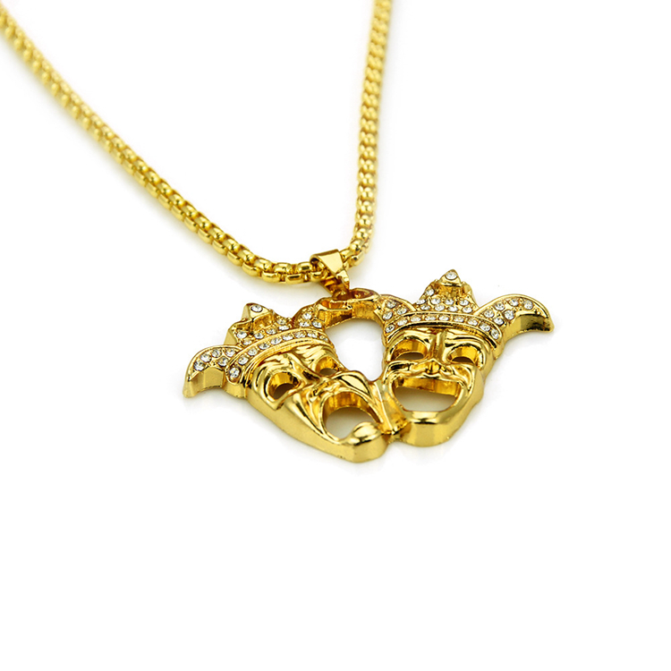 Hot Trend Hiphop Rapper Iced Out Diamond 14K Gold Clown Pendant Necklace