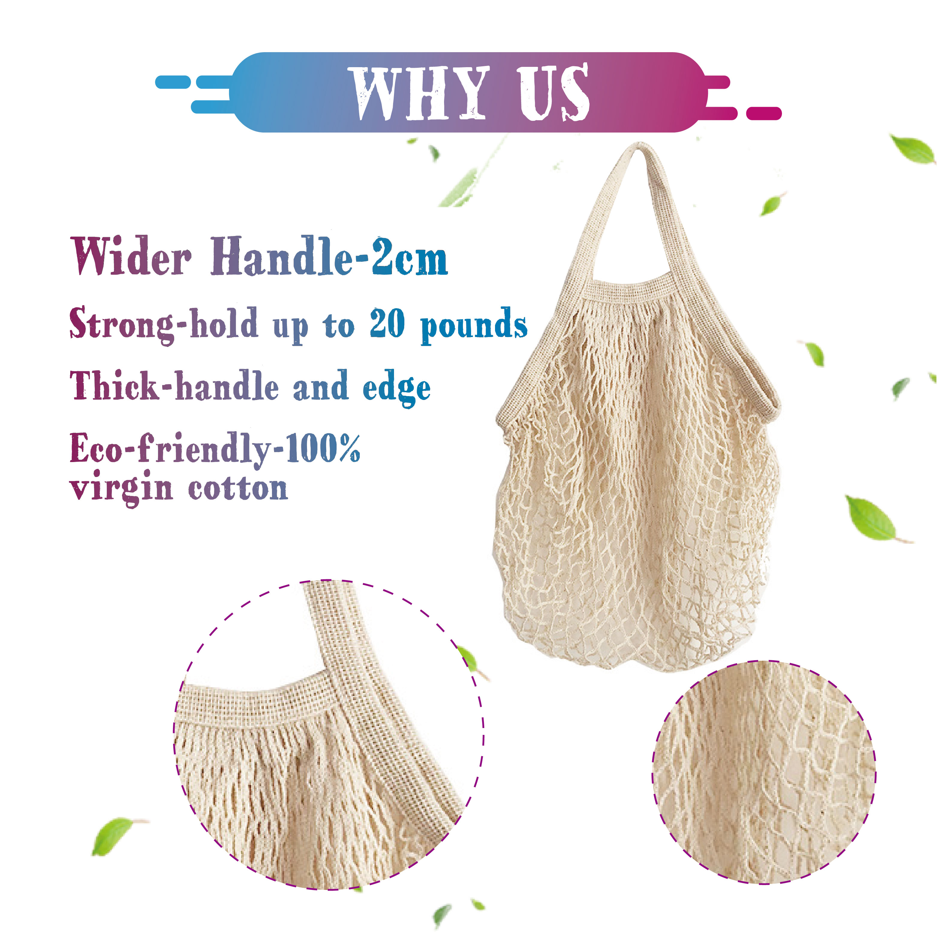 Eco Shopping Beach Net Shopping Cotton Mesh Bag