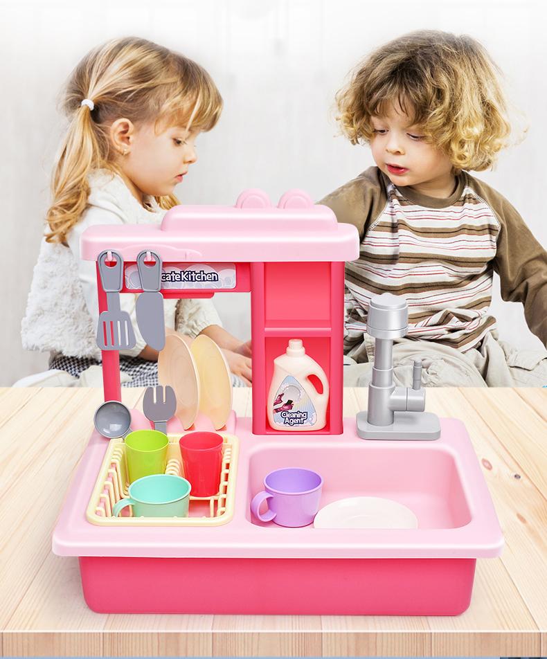 बिजली Dishwasher रसोई सिंक के साथ खिलौने पानी चल रहा है के साथ नाटक खेलने रसोई खिलौने लड़कों के लिए सेट लड़कियों निविड़ अंधकार एप्रन