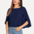 Straße Tragen crop top Elegante Navy Rundhals Halb Mantel Hülse Solide Cape Top