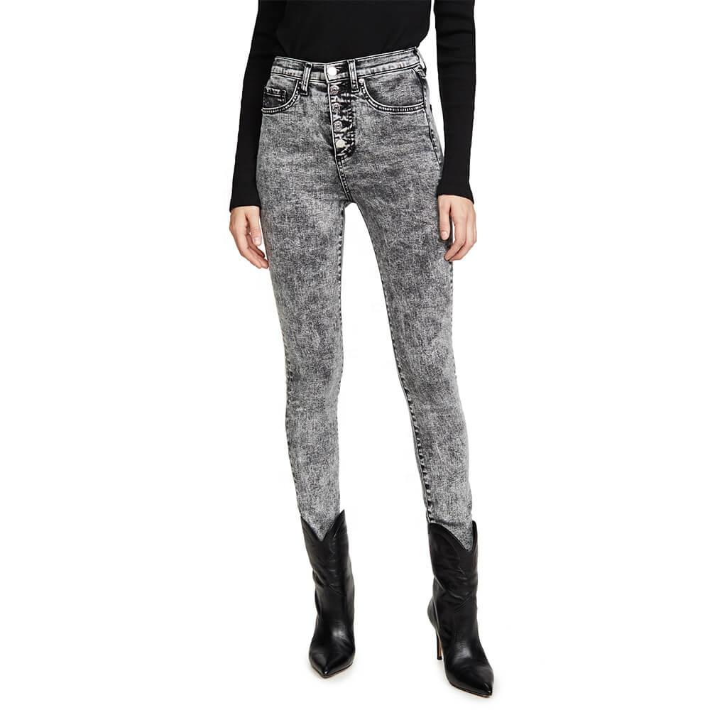 Nuovo di Vendita Caldo di Modo Button Fly Acido Nero Misura Stretta Delle Donne Del Denim Dei Jeans Legging Pantaloni