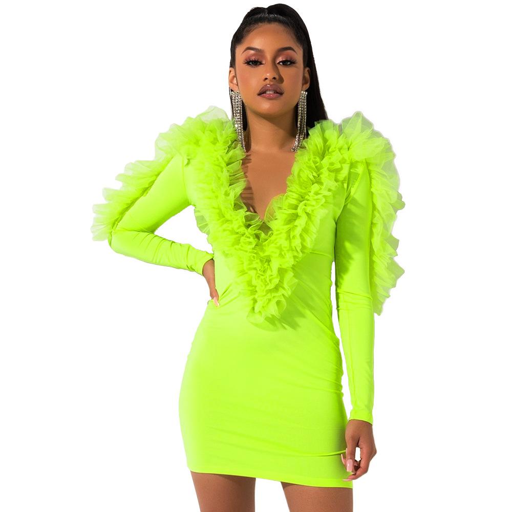 Сексуальное Сетчатое платье с леопардовым принтом и рюшами с глубоким v-образным вырезом для вечеринок и клубов, облегающее мини-платье, жен...(Китай)
