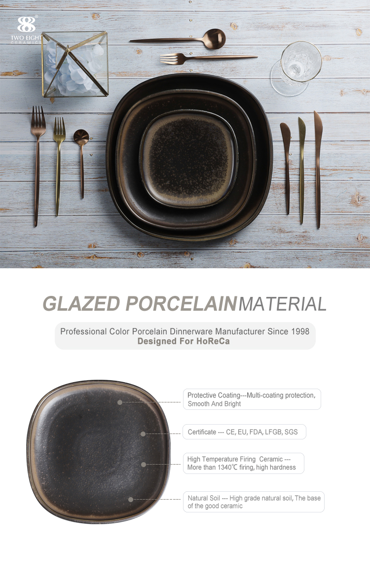 Square Ceramic Plates Dishes Restaurant, Fine Lounge Dinnerware Black Color Dishes, Wholesale Japanese Ceramic Plate/