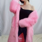 Hooded New Style Hot Color Faux Fox Pink Fur Coat Long Coat Women