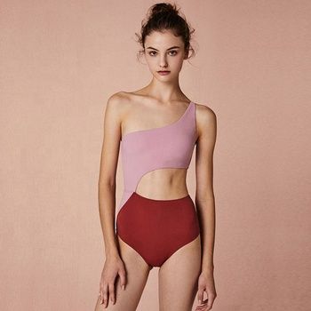Atlantic Beach One Shoulder Retro Sexy Style Women One Piece Swimwear For Hot Spring Female Ins Bathing Suit