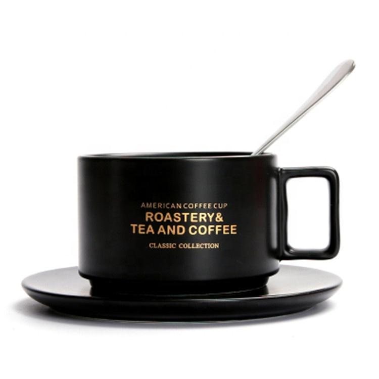 Hotsale gri renk özel logo lüks İtalyan espresso kahve seramik fincan ahşap daire ile