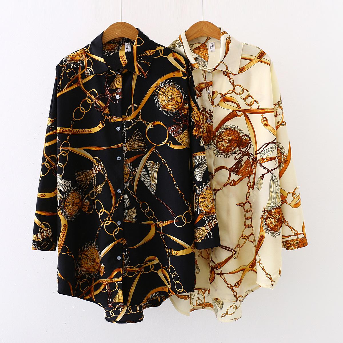 Plus Size Designer Shirts For Women 2021 S-5XL Print Blouses Chiffon Tops Spring Elegant Tunic
