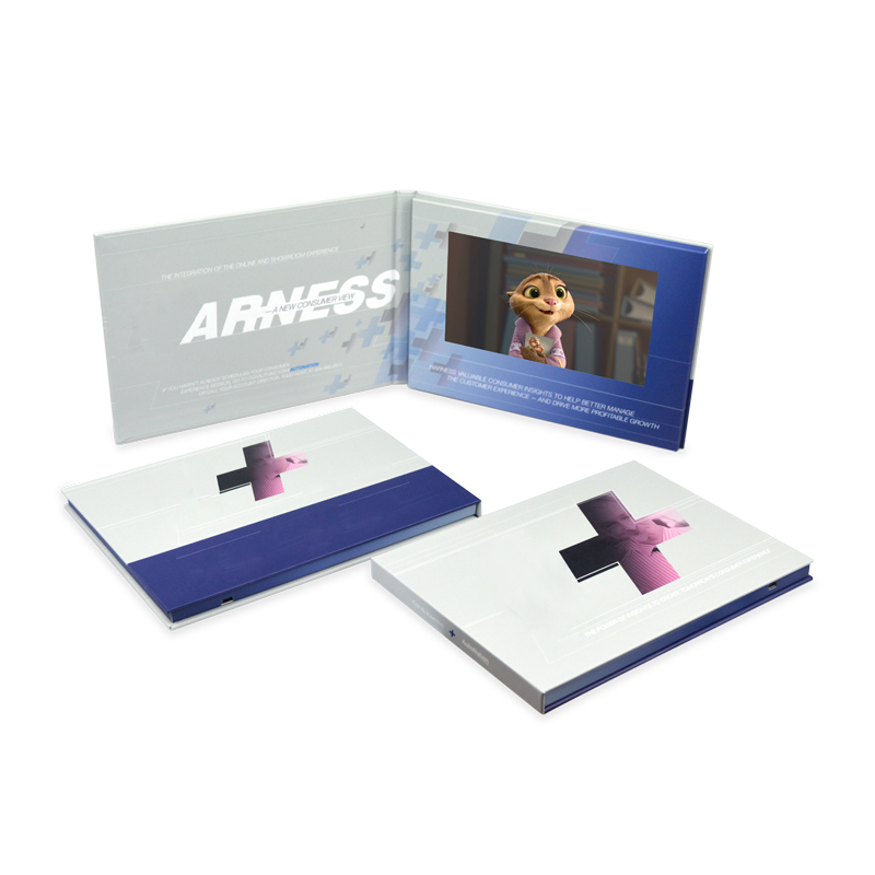 Customized Hardcover 7 Inch Digital Lcd Video Brochure For Advertising