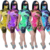 Sexy Regular Rompers Jumpsuit With Face Cover Fashion Short Sleeve Bandage Pants Boho Colorful Playsuits