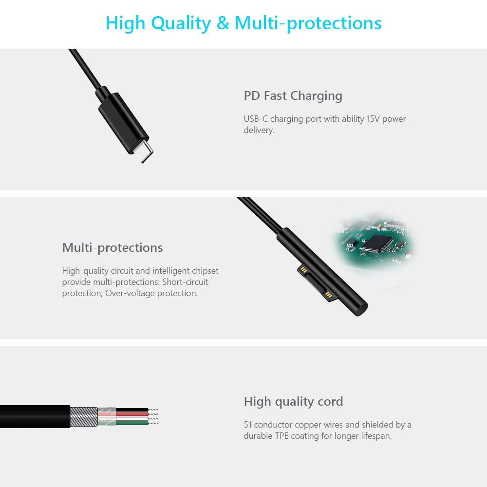 1.5M 5ft Fast Charging Cable USB Type C PD 15V to Suface USB Adapter Cable support surface Book pro6/5/4/3