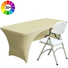 ABCCANOPY Spandex Couverture de Table 6 pi Polyester Nappe Extensible Spandex Nappe Table Toppers (Dos Blanc)
