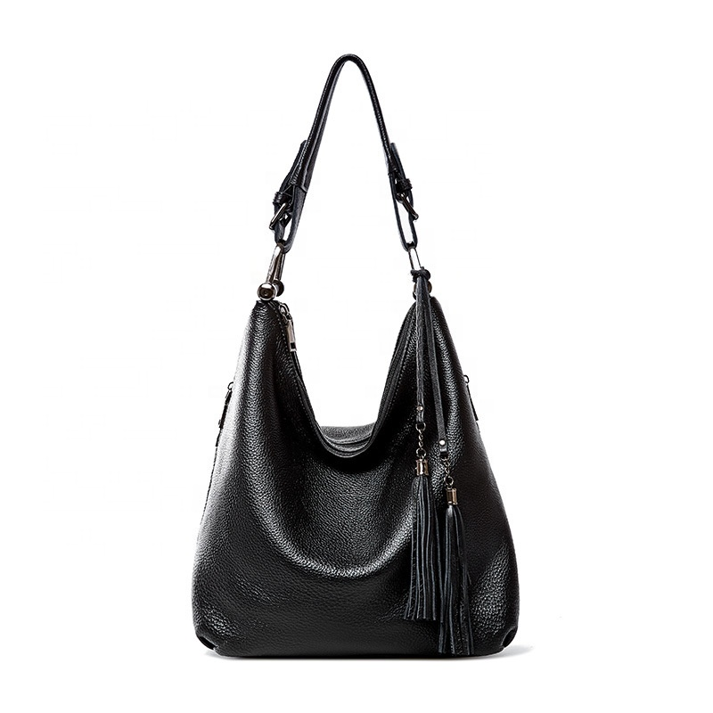 FS5403 custom high quality ladies fashion handbag women <strong>genuine</strong> <strong>leather</strong> <strong>hobo</strong> <strong>bag</strong> with tassels