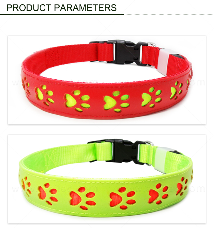 AIDI PU Leather Hollow Printing Led Dog Leash Collar Set with Led Light Unique Style 2020 Paw Pattern Flashing Dog Collar