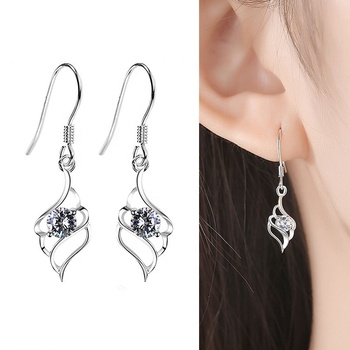 Fashion Simple 925 Sterling Silver Unusual Earrings Angel Wings Zircon Hollow Ear Hook Suitable For Women Fine Jewelry