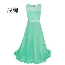Взрывное стильное шифоновое кружевное платье средней длины платье с цветочным узором для девочек детское платье 2020 CHD20145(China)