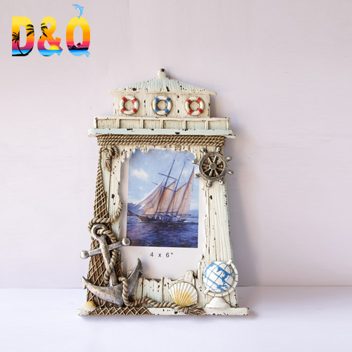 Nautical hand-painted resin stone lighthouse shaped <strong>vintage</strong> photo <strong>frame</strong>