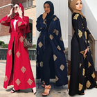 Zakiyyah LR316 Islamic Clothing Shop Hot Selling Fashion Kimono Robe Open Abaya Muslim Dress Gold Geometric Pattern