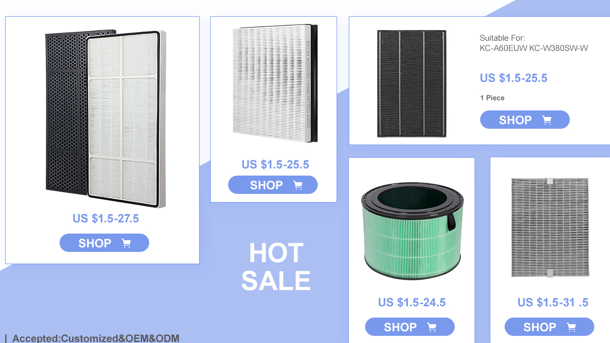 HEPA Filters and Activated Carbon Filter Set Compatible with Sharp FZ-F60HFU FZ-F60DFU Fits Sharp FP-F60UW FP-F60U-WAir Purifier