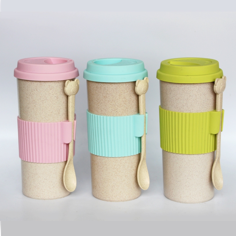 Hot Selling Biodegradable Bottle, 550ML Wheat Straw Drinking, Straw Wheat Cup