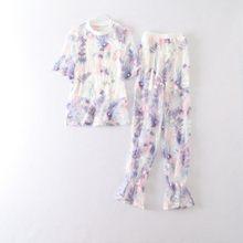 Сексуальные сетчатые прозрачные женские комплекты с цветочной вышивкой из 3 предметов, кружевные футболки с коротким рукавом и круглым выр...(Китай)
