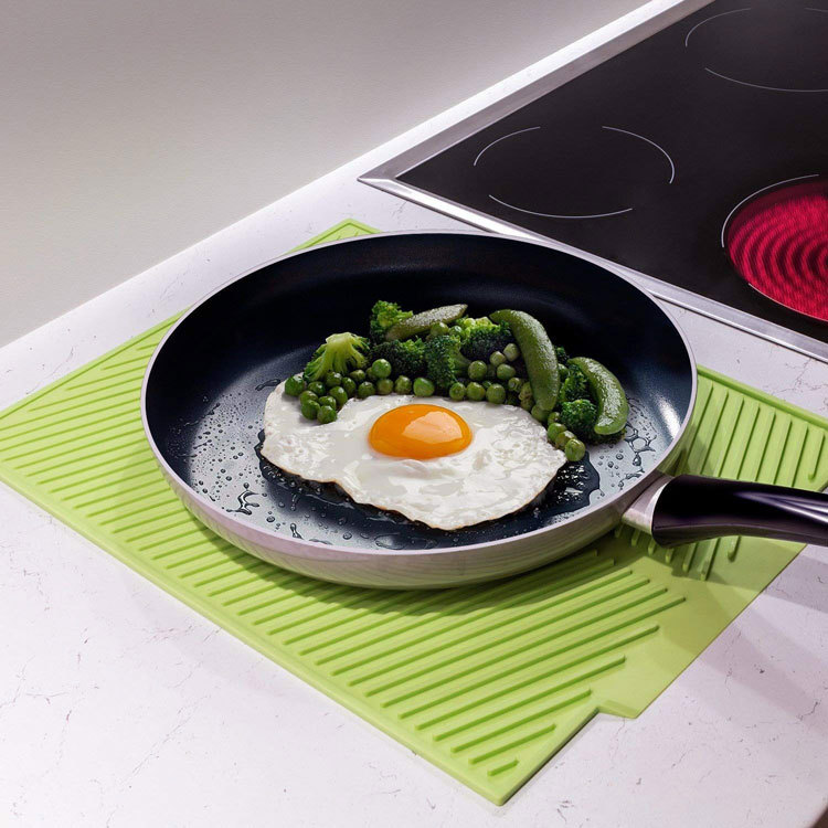 "Silicone Dish Drying Pad Grey 15"" x 10"" Fast Drying Mat Non-slip, Heat Resistant, Dishwasher Safe"
