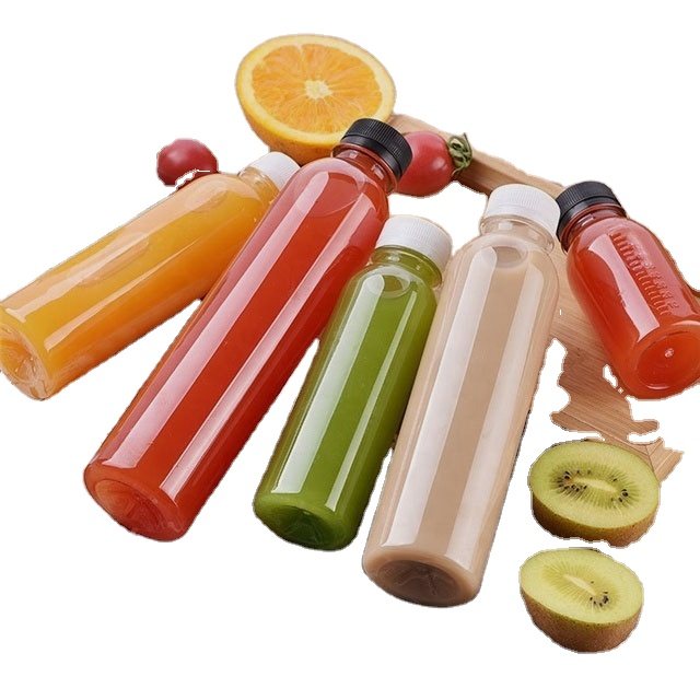 LA001 Runde bpa frei einweg klar pet kunststoff saft 300ml 500ml getränke flaschen mit deckel