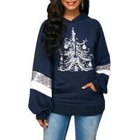 Autumn Winter Casual Print Sequin Embellished Marry Christmas Pullover Hoodie