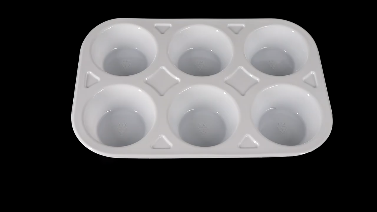 Custom Food grade Disposable Container Muffin Cake 6 Holes Plastic Mochi Packaging Tray