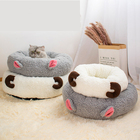 SJ1088 Comfortable Camo Fleece Donut Cuddler Round Dog Bed Ultra Soft Washable Hooded Plush Cat Bed