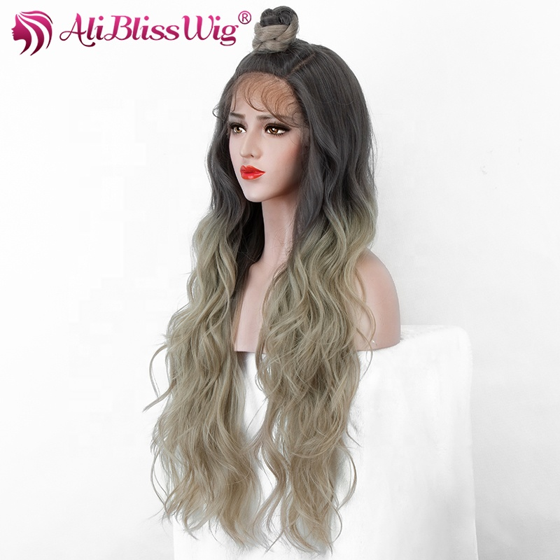 Aliblisswig New Heat Resistant Fiber Hair 30&quot; Long Curly Dark Roots Ombre Blonde Grey Lace Front <strong>Synthetic</strong> <strong>Wig</strong> with Bun