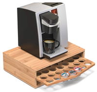 Bamboo Coffee Pod Storage Holder Organizer with Drawer for Keurig K-Cup Pods