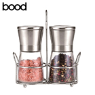amazon hot glass jar manual salt and black pepper mill grinder set cheap price for promotion with metal holder
