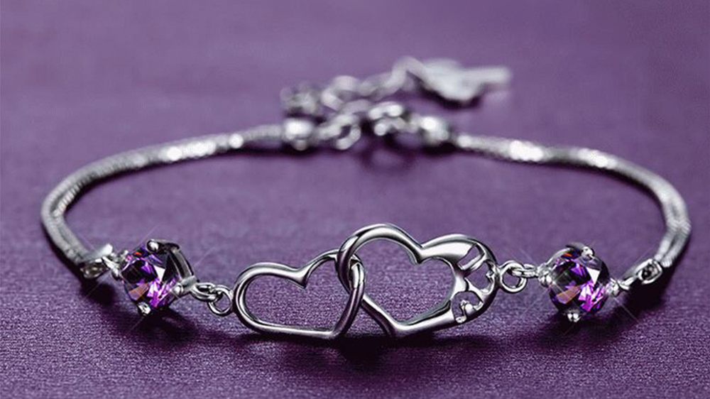 925 Sterling Silver Bracelets,Crystal Stone Jewelry Women White Gold Plated High Quality Love Heart Charm Statement Bracelet