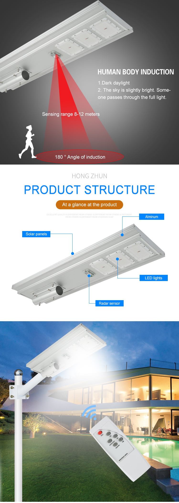 Top quality outdoor waterproof IP65 Bridgelux 50 100 150 watt all in one integrated solar LED street lamp