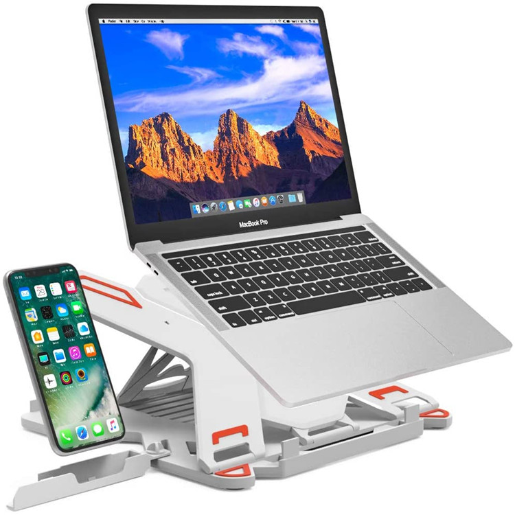 Great Roc Laptop Stand Plastic Folding Holder Phone Laptop Stand Laptop Stand With Phone Holder