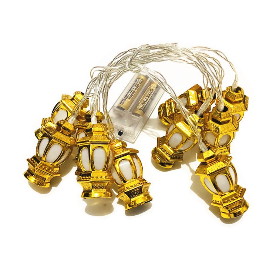 Vintage Gold House Shaped Lantern String Ramadan Eid Mubarak Decorative Led Novelty String Lights